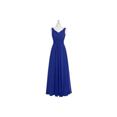 Royal blue Azazie Pierrette - Chiffon V Back V Neck Floor Length Dress - Charming Bridesmaids Store