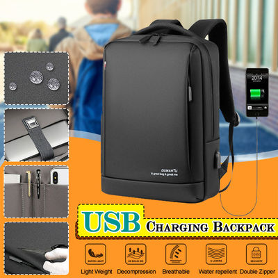 Men Large Capacity Backpack USB Charging Laptop Bag Oxford Cloth Pure Color