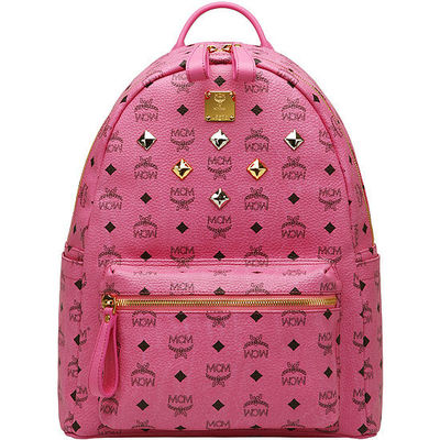 MCM Medium Stark Six Studded Backpack In Pink
