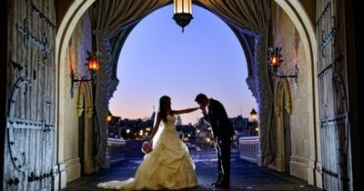 Bridal portrait session captured inside Cinderella Castle