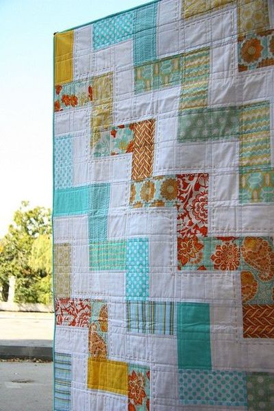 Alternate chevron - machine quilting mixed with hand sewn accents - LOVE