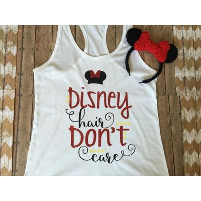 Disney Hair Don't Care Shirt Disney Tank Disney Tee Family Disney... ($22) � liked on Polyvore featuring tops, t-shirts, grey, women's clothing, vinyl t shirt, fitted tee-shirt, grey top, shirt top and fitted tee