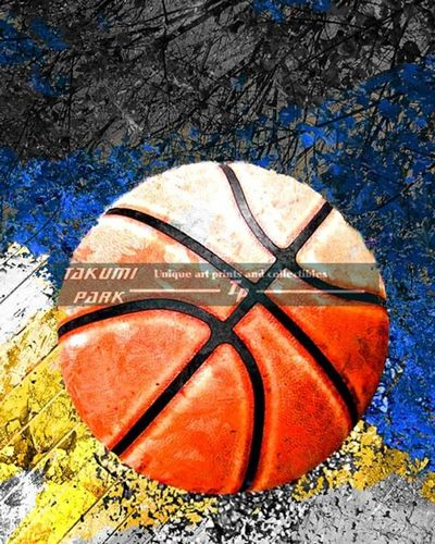 A colorful basketball art print by takumipark. a modern basketball artwork that is an unframed photo print and comes in different sizes. #basketballartist #urbanart #homedecor #sports #streetart