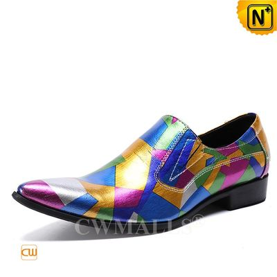 Men Leather Shoes | Rainbow Printed Leather Formal Loafers CW719123 | CWMALLS.COM
