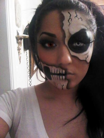 halloween makeup, skull makeup and skeleton makeup.