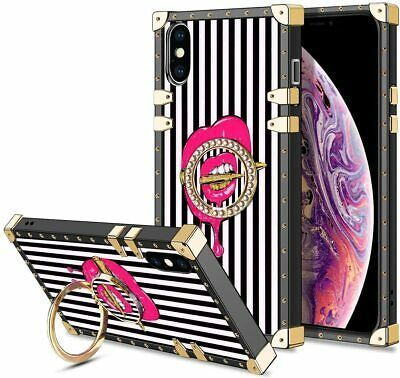 iPhone XS Max 6.5 Inch Pink Lips Bullet 80s Retro Fashion Vintage Kickstand Ring