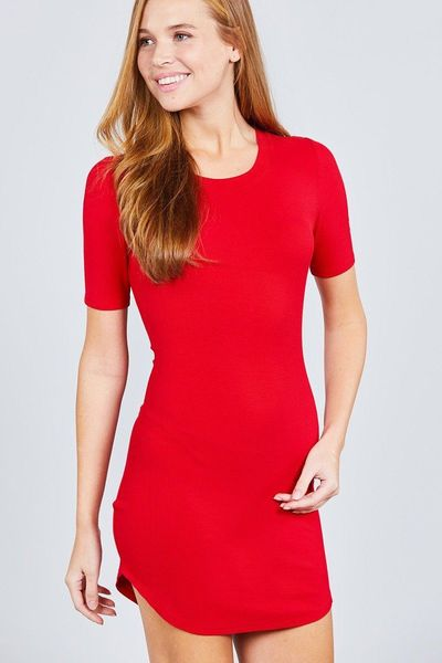 Short Sleeve Round Neck Rayon Spandex Rib Mini Dress $14.01