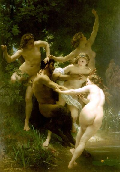 """William Adolphe Bouguereau (William Bouguereau) (1825-1905) 1873 Nymphes et Satyre Oil on canvas 180 x 260 cm (5' 10.87"""" x 8' 6.36"""") Sterling and Francine Clark Art Institute (Williamstown, Massachusetts, US)..."""
