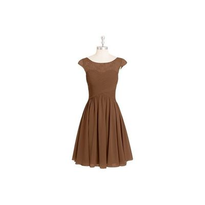 Brown Azazie Betty - Chiffon And Lace Boatneck Knee Length Illusion Dress - Simple Bridesmaid Dresses & Easy Wedding Dresses