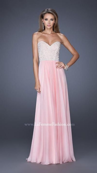 Cotton Candy Pink Strapless Gown with Glowing Accents by La Femme 20211