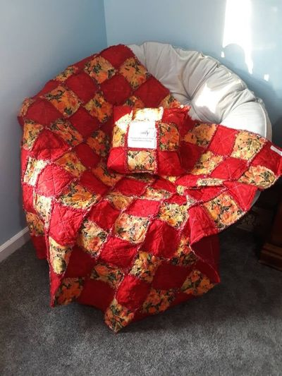 Beautiful Red Fall Colored Set- Yellow Autumn Patchwork Quilt-Orange Leaf Harvest Novelty Throw-Fall Leaves Keepsake Rag Quilt-Handmade $100.00