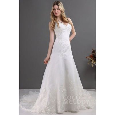 Charming A-Line Spaghetti Strap Chapel Train Organza Wedding Dress CWLT130C9 - Top Designer Wedding Online-Shop