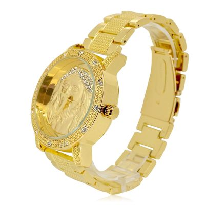 Gold Plated Jesus Stones Studded Dial Watch £27.95