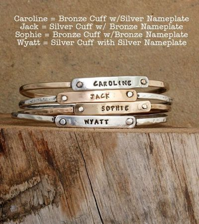 Sterling Silver or Bronze Family Mothers Bangle Bracelet by Nelle and Lizzy