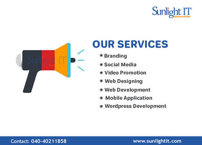 Sunlight IT is the best IT company providing quality services in Hyderabad. We deliver the best internet marketing service to our clients and the main goal of our professional team is to satisfy clients and offers the best way of marketing according to yo...