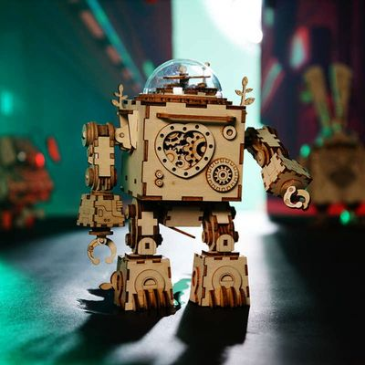 DIY music box Robot Toy, Wooden Assembly kit, educational Toy,DIY projects,3D Puzzle with lights $68.00