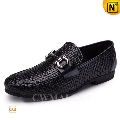 Custom Father's Day Gift | CWMALLS® Helsinki Woven Leather Loafers CW708115