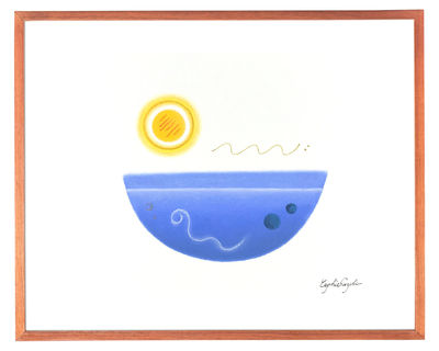 The moon over the sea, Size:F6(12x16in,31x41cm), Pastel Painting on a paper, Abstract Healing Art, Gift idea for someone also you $300.00
