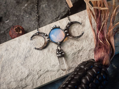 Stained Glass Pendant Moon Stone (opalit) , double crescent moon $31.00
