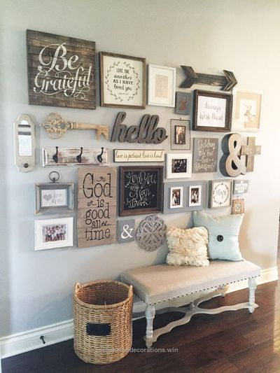 "Living Room decor �€"" rustic farmhouse style. Wall decor reclaimed wood gallery wall. 23 Rustic Farmhouse Decor Concepts 