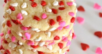 Easy Valentine's Day Cookies - make sugar cookies, roll into balls, roll in sprinkles, bake, eat.