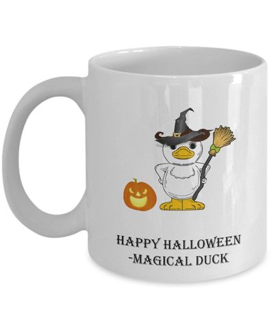 Happy Halloween Duck And Pumpkin White Ceramic Coffee Mug $14.95