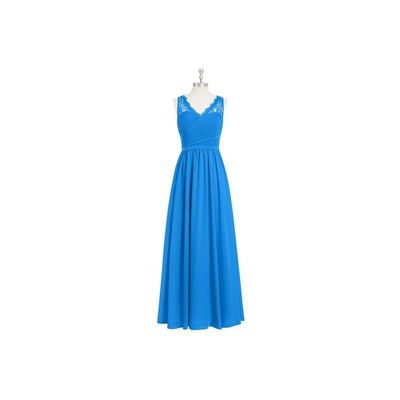 Ocean blue Azazie Beverly - Side Zip V Neck Floor Length Chiffon And Lace Dress - Simple Bridesmaid Dresses & Easy Wedding Dresses