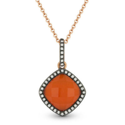 2.25ct Red Agate/White Topaz Doublet & Diamond Pendant & Chain in 14k Rose & Black Gold - AM-DN4070
