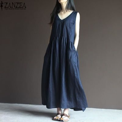 2018 Summer ZANZEA Women Elegant V-Neck Sleeveless Work Office Maxi Vest Tank Dress Boho Beach Cotton Linen Pockets Long Vestido $46.59