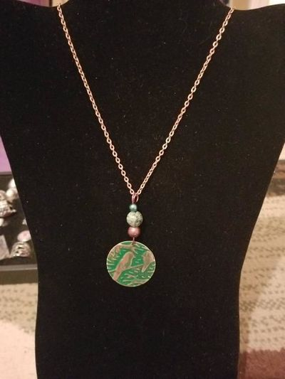Jade and Copper Bird Necklace $15.00