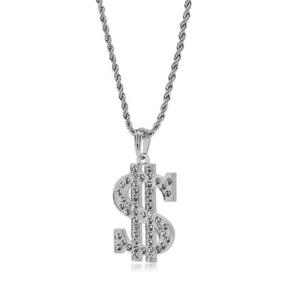 Silver CZ Dollar Sign Pendant Rope Chain Necklace £14.95