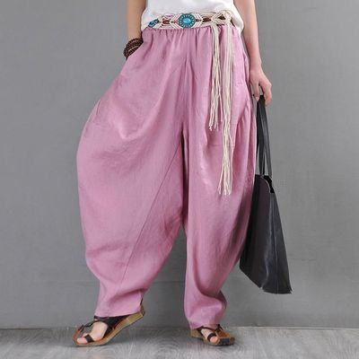 Harem pants, Pink loose bohemian bloomers, ramie big crotch pants, Drop crotch Pants, Elephant pants, Kappa pants, Lerp pants