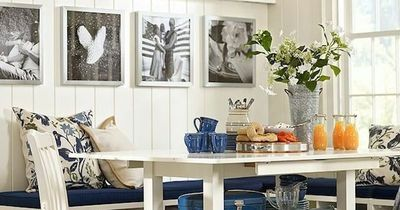 casual coastal banquette dining area