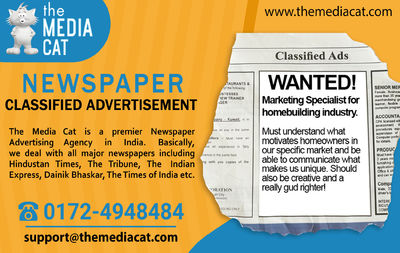 Instantly Book Classified Ads in all Indian newspapers through TheMediaCat and get a very big discount. TheMediaCat is the Best Advertising Agency which helps you to publish your classified & display ads in various national and regional newspapers. T...