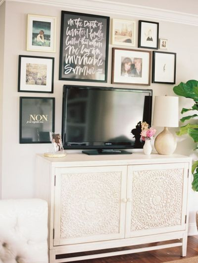 flat screen, gallery walls and tvs.
