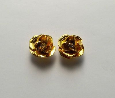 13 mm Gold or Silver Rose with Swarovski Crystal Center Magnetic Non Pierced or Pierced Earrings $40.00 Designed by LauraWilson.com