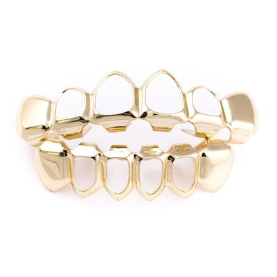 Gold Layered 4 Open Face Top & Bottom Set Teeth Grillz £17.70