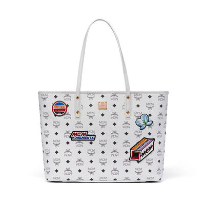 MCM Medium Anya Visetos Victory Patch Shopper Tote In White