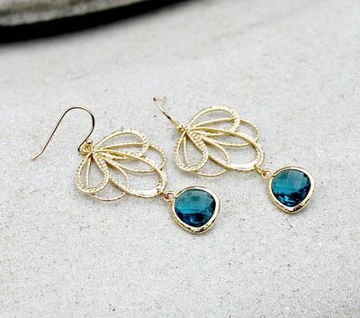 Gold Chandelier Earrings,Teal Jewel, Bohemian, Wedding, Boho Jewelry