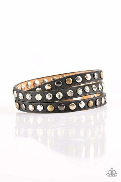 Paparazzi Lets Go For A CATWALK - Black Leather White Rhinestone Brass, Gold and Silver Stud Bracelet $5.00