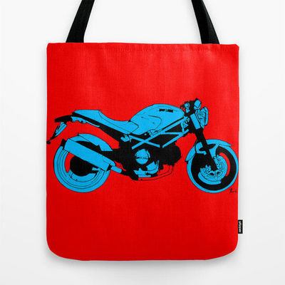 Tote bag | Ducati Monster, Original handmade drawing, red and blue $27.00