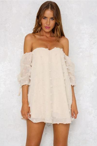 Off Shoulder Short Sleeves Short Dress kr24.99