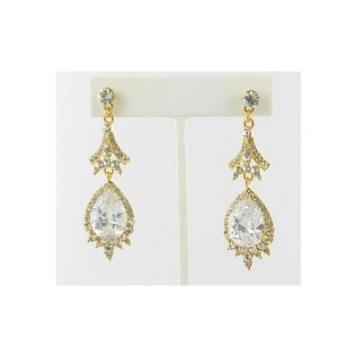 Helens Heart Earrings JE-E09534-G-Clear Helen's Heart Earrings - Rich Your Wedding Day