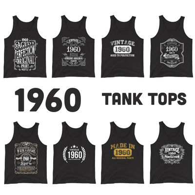 1960 Birthday Gift, Vintage Born in 1960 Tank Tops for women men, 60th Birthday shirt for her him, Made in 1960 Tanks, 60 Year Old Birthday $19.99