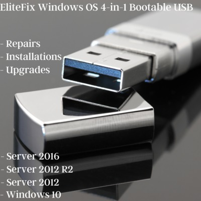 Elitefix 4-in-1 Windows Install and Repair Bootable USB - Server 2016, 2012 R2, 2012, Windows 10 $59.99