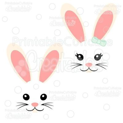 Girl & Boy Easter Bunny Face FREE SVG Cut File Set - Includes Limited Commercial Use License! Free Easter SVG Files, SVG, Cricut Explore, Cricut, Silhouette, Silhouette Cameo, Silhouette Portrait, Free SVG cuts, Eclips, Cutting Files, Make the Cut, Su...