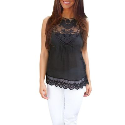 Lace Black Sleeveless Summer Casual Top $23.60