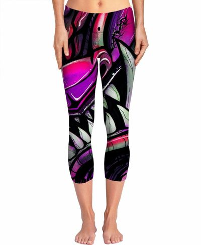 ROYP graffiti monster mouth Women's Yoga Pants $52.00