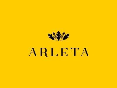 exclusive hotel and spa. arleta means pledge, that's why I used oak leafs and nuts crown