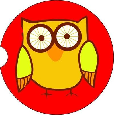 2 Absorbent Car Coasters, Owl, Car Accessories for her, Auto Coaster, Coaster, Cup Holder Coaster, Gift For Her, For Him $14.00
